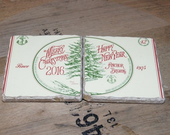UPcycled Coaster (set of 2) - Anchor Brewing - Merry Christmas Happy New Year 2016