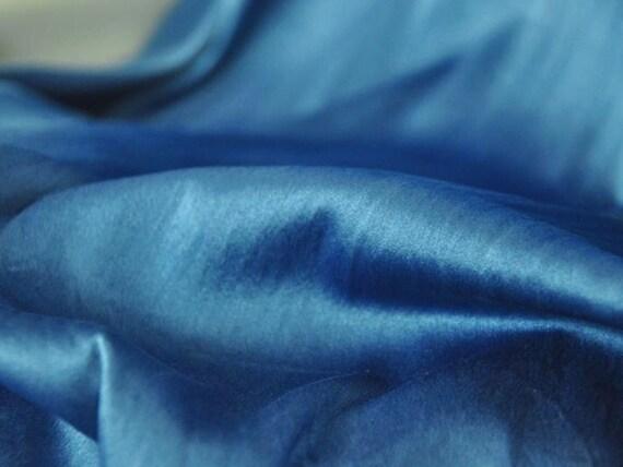 Natural dyed Silk indigo blue clothing fabric