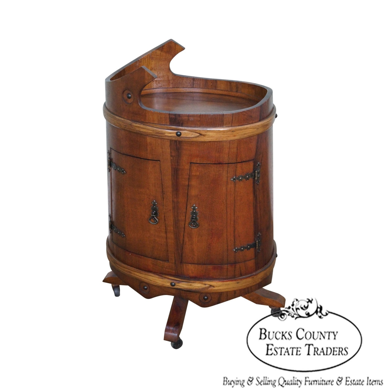 Vintage Oak Barrel Server Bar Liquor Cabinet Cart