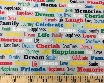 Bright Words on Gray Fabric By the Yard, Half, Fat Quarter Cherish Memories Love Family Dream Smile Cotton Quilting Apparel Fabric w7/30
