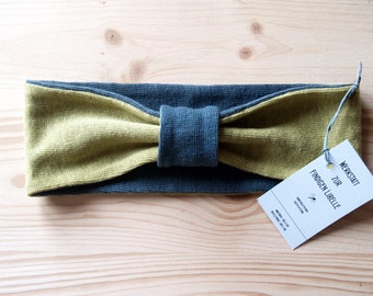 Headband made of 100% hemp Jersey, anthracite and mustard-yellow