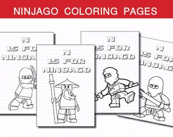 INSTANT DL- Ninjago coloring pages Ninjago birthday party (SET of 4 )