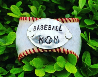 Baseball Mom Bracelet, Baseball Leather, Hand Stamped Spoon, Vintage