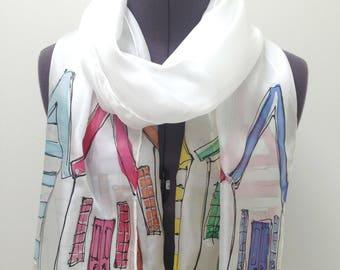 Beach Hut Silk Scarf ~ Hand Painted Silk Scarf, Nautical Accessories, Seaside Fashion, Coastal Themed Gift, Beach Huts Art, Womens Beachwear