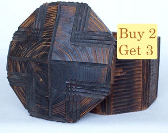 SPRING SALE - Octagonal Wooden Box Handmade For Jewelry Geometric Lines Vintage Look