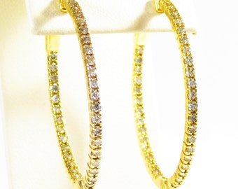Stunning 14k Gold and Diamond Oval Hoop Earrings