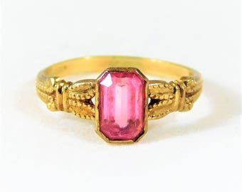 Antique Art Deco Childs 10k Gold and Pink Sapphire Ring