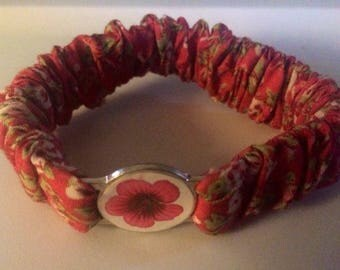 Child's Fabric Floral Bracelet with Round Pink Flower Circle Emblem