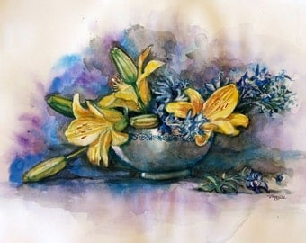 "Original Watercolor Painting, Still Life-Yellow Lilly Flowers, 12""x15"", 1702069"