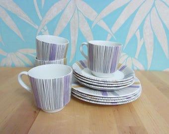 1960s Barratt's Delphatic White multi-stripe teaware
