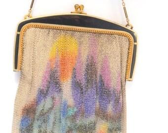 Whiting Davis Antique Art Deco Scenic Dresden Mesh Purse Enamel Frame Handbag