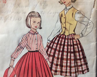 Simplicity 4789 girls blouse, skirt & weskit size 10 vintage 1950's sewing pattern
