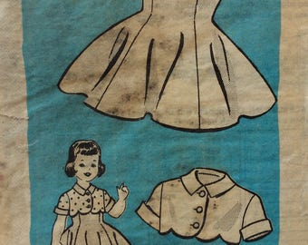 Mail order 9032 girls dress & bolero size 6 vintage 1950's sewing pattern  Marian Martin