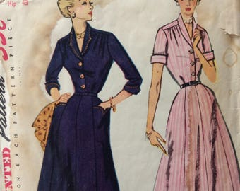 Simplicity 3708 misses shirtwaist dress bust 40 vintage 1950's sewing pattern