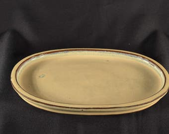 "Bonsai pot/tray, bonsai ceramic humidity tray, 10"" beige color,oval shape, Hard to find!!!"