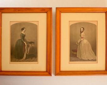 Vintage Godey Lithograph Dressmaker and Wearer Set of Two