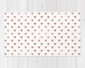 Rose Gold Heart Pattern area rug Blush Home Decor 2x3 rug modern rug girls 3x5 4x6 dorm room throw rug modern blush office decor rugs