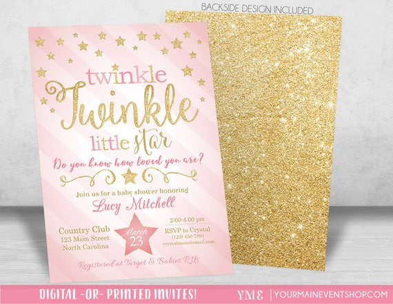 Twinkle Twinkle Little Star Baby Shower Invitation, Twinkle Twinkle Shower Invitation, Pink and Gold Star Invite, Girl Baby Shower • BS-T-01