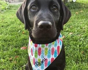 Feathers Dog Bandana || Pink Aqua Blue Lime || Summery || Classic Tie Dog Pupdana || Puppy Gift