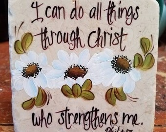 Hand painted marble tile; 4x4 inches; Phillipians 4:13; Daisies