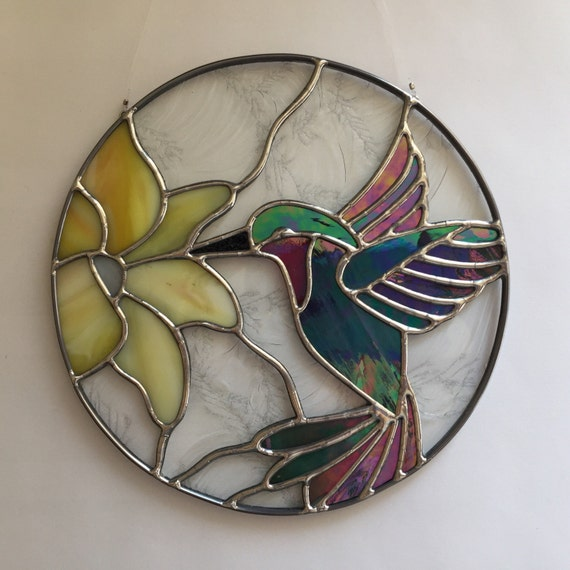 Stained Glass Hummingbird And Flower Suncatcher Stain Glass