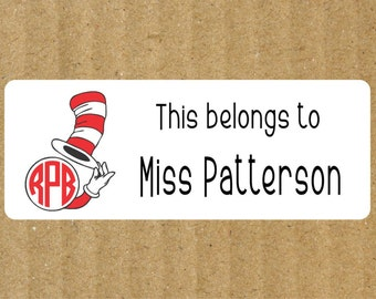 Monogram Book Labels, 90 Labels, Cat in the Hat Monogram, Teacher Labels, Book Labels, Teacher Book Labels, Dr. Seuss Book Labels, Library