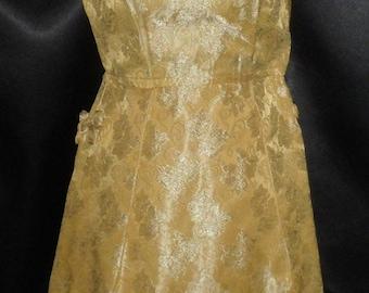 Vintage 1940's Petite Brocade Gold Cheongsam Dress with Satin Lining 34 Small