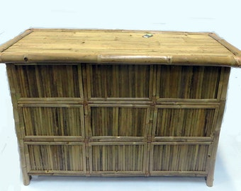 "Bamboo Bar Counter with Shelves, 24""W x 64""L x 44""H, BB-24"
