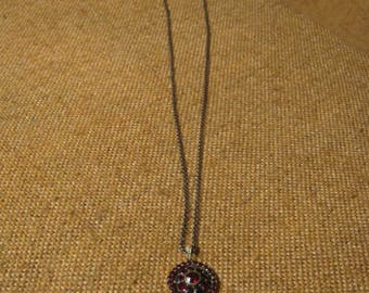 Delightful Antique Victorian Gold Plated Round Bohemian Garnet Pendant And Chain.