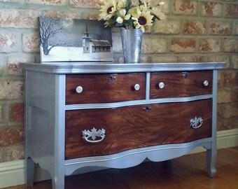 Antique dresser, shabby chic dresser, silver metallic dresser, 3 drawer dresser, painted nightstand,  metallic dresser, metallic nightstand
