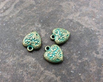 Patina Heart charms Package of 3 double sided puffed heart charms Verdigris charms with textured finish