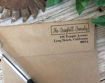 Custom Rubber Stamp Design, RIGHT JUSTIFIED, Return Address, Rubber Stamp, Modern Calligraphy Wood Stamp, Hand Lettered Stamp