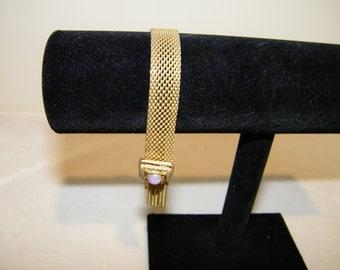 Vintage Opal  Pearls Mesh Bracelet w/ Tassel