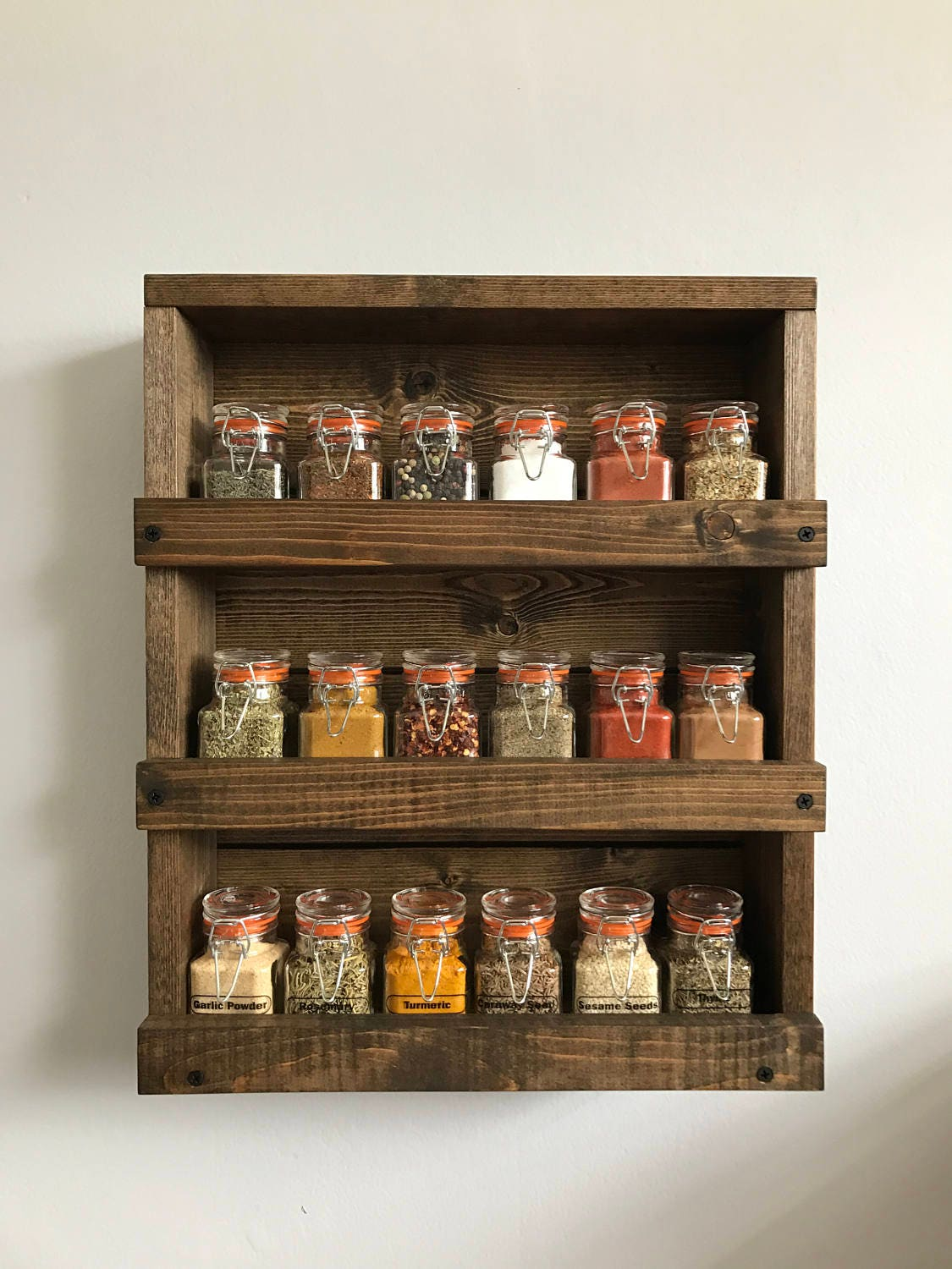 wall spice rack rustic wood spice rack wood wall mounted spice organizer 31611