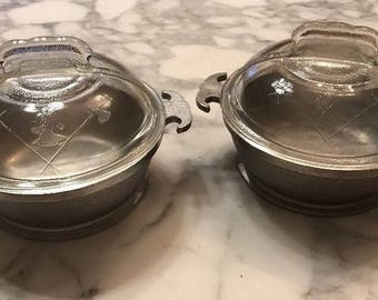 "TWO Vintage Kitchen Guardian service pots. 7"" with glass lids"
