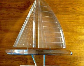 Lucite Sailboat Sculpture