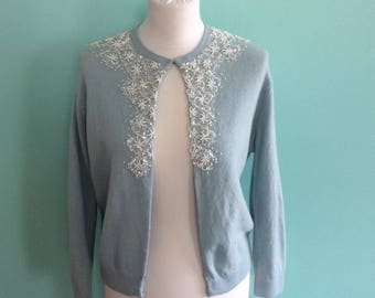 Beautiful 1950s Light Blue Beaded and Sequined Cardigan - Size S