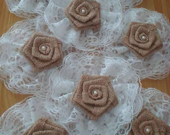 10pcs Burlap Lace Roses Shabby Chic Flowers Rustic Wedding Decor
