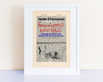 Fear and Loathing in Las Vegas by Hunter S. Thompson Print on an antique page, book cover art