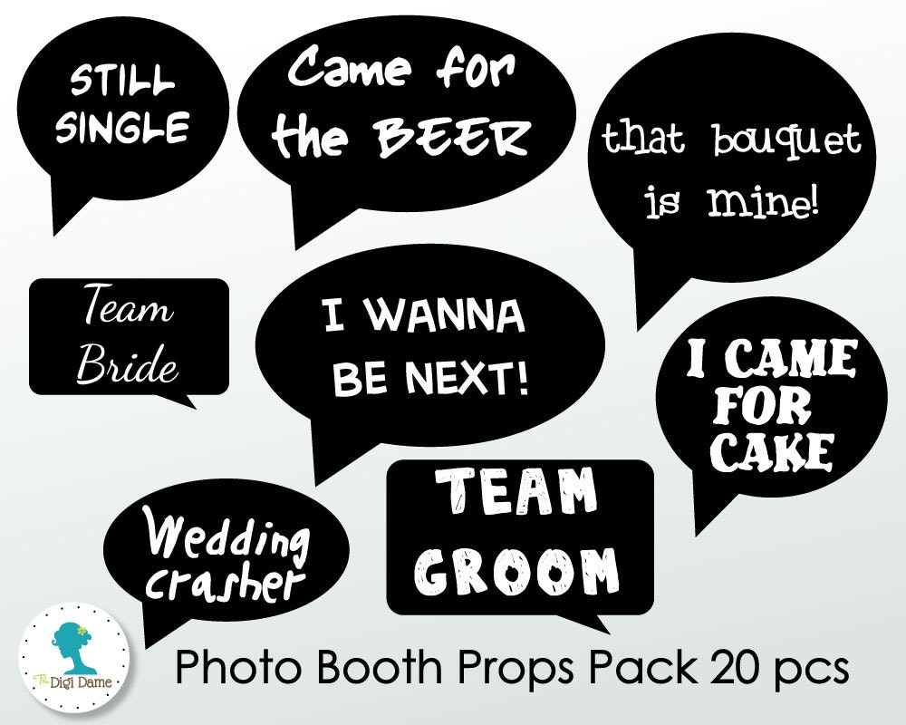 Wedding photo booth props printable funny speech bubbles for Photo booth speech bubble template