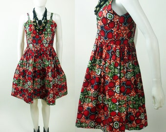60s African printed gathered waist sweetheart dress