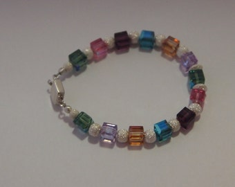 Modern Sterling Silver and Square Swarovski Crystal Bracelet