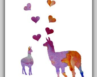 Llama art, llama print, watercolor, water color, llama wall art, romantic print, toddler girl art, llama picture, love art, love prints, red