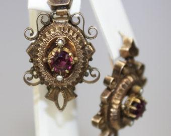 "Antique 10K Rose Gold Pierced Earrings Amethyst Seed Pearls 1+3/16""h x 11/16""w  Victorian"