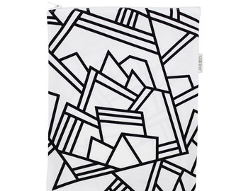 "Big zip pouch for touch pad - black and white - hand-printed - ""Pégase"""