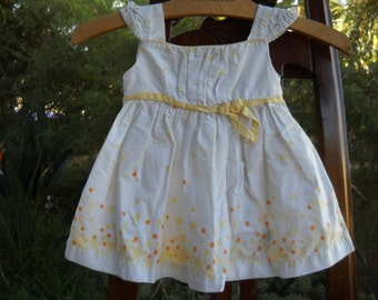 Yellow floral sundress for your 12 month baby girl, all cotton with little cap sleeves