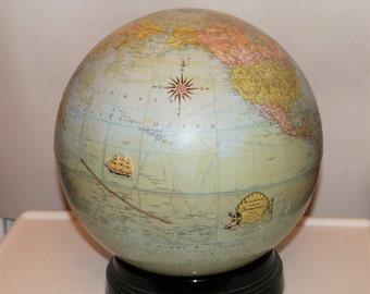 Mid 1930's Rand McNally Terrestrial Globe with Bakelite Base RARE 12""