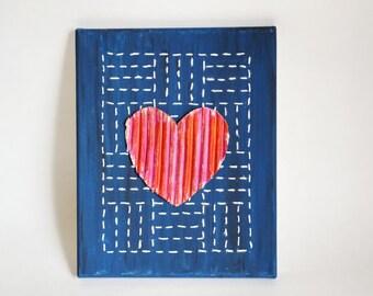 """The Heart Mixed Media Canvas Art 8""""X10"""""""