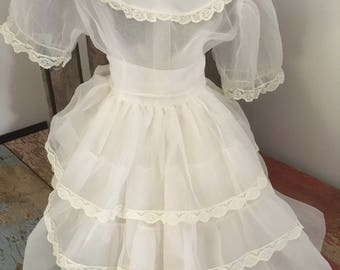 Vintage White Sheer Organza and Lace Girls Communion Dress from 1962 M814