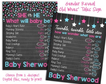 Old Wives Tales Baby Shower Game Coed Boy or Girl Trivia